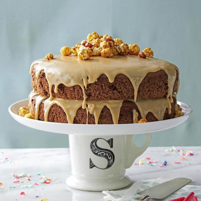 Chocolate Spice Cake with Caramel Icing